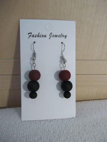 Matte Black Burgundy Glass Beads Earrings (E956)
