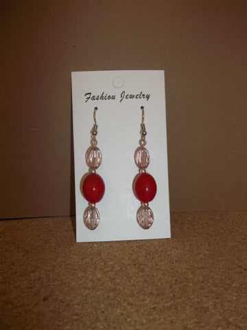 Silver Red Glass Beads Crystal Earrings (E960)