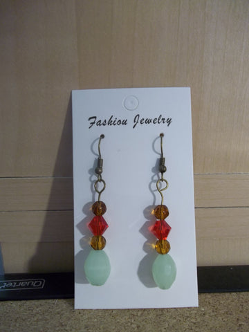 Green Red Bronze Glass Bead Earrings (N961)