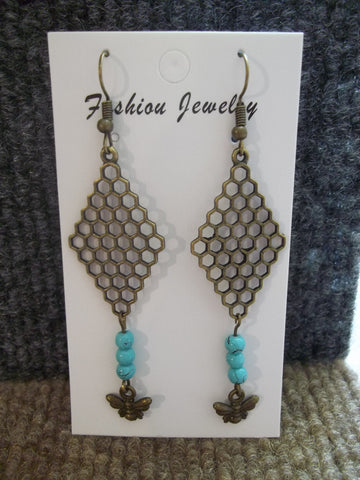 Bronze Turquiose Bee Hive Bee Earrings (E966)