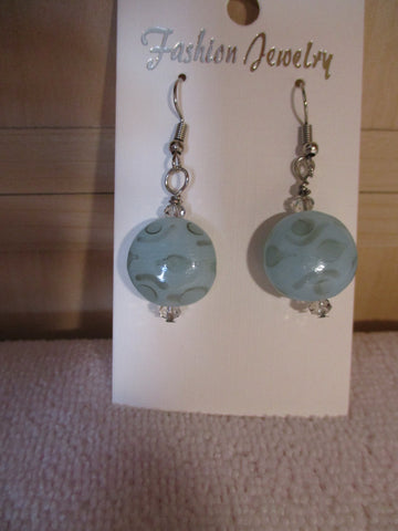 Silver Light Blue Glass Bead Earrings (E968)