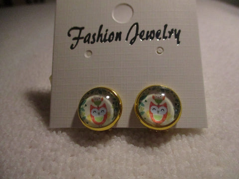 Gold Bubble Orange Owl Clip Earrings (E970)