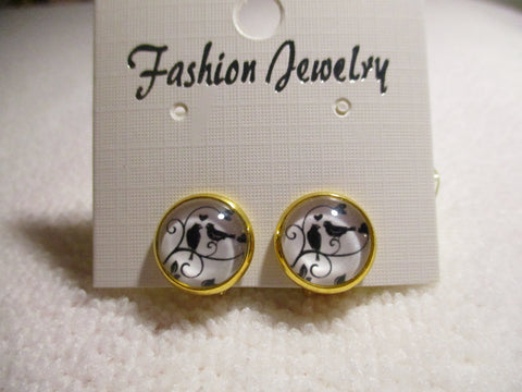 Gold Two Black Birds Bubble Clip Earrings (E973)