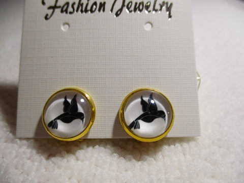 Gold Black Bird Bubble Clip Earrings (E974)