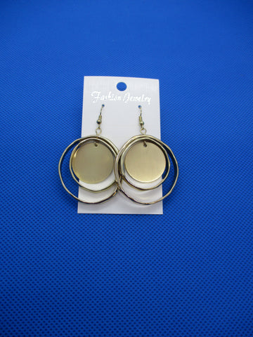 Gold Double Circle Solid Circle Earrings (E976)