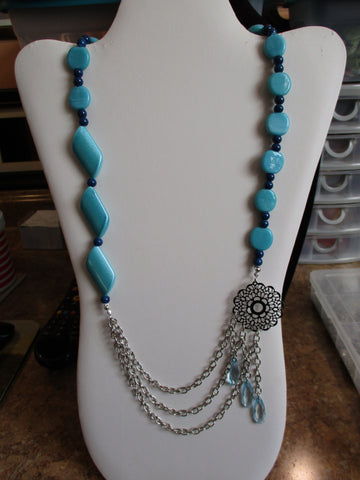 Blue Glass Beads Silver Chain Drape Necklace with tear drop beads (N1177)