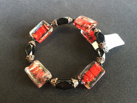 Memory Wire Glass Rectangle Red Black Bead Bracelet (B364)