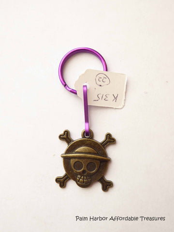 Bronze Skull Cross Bones Key Chain (K315)