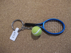 Blue Tennis Racket and Ball Key Chain (K328)