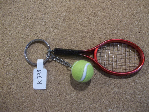 Red Tennis Racket and Ball Key Chain (K329)