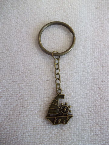 Bronze Sail Boat Key Chain (K335)