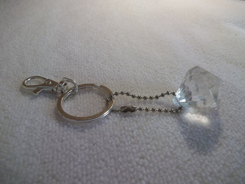 Silver Big Diamond Clear Bling Key Chain (K336)