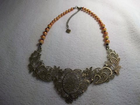 Bronze Bib Red Yellow Glass Beads Necklace (N1002)