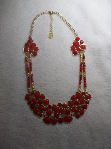 Gold Red Bib Bling Necklace (N1006)