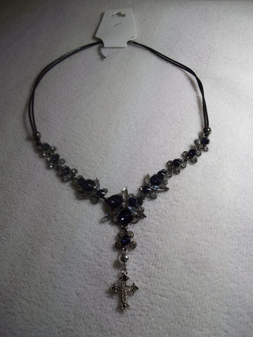 Black Cord Blue Clear Bling Silver Cross Necklace (N1008)