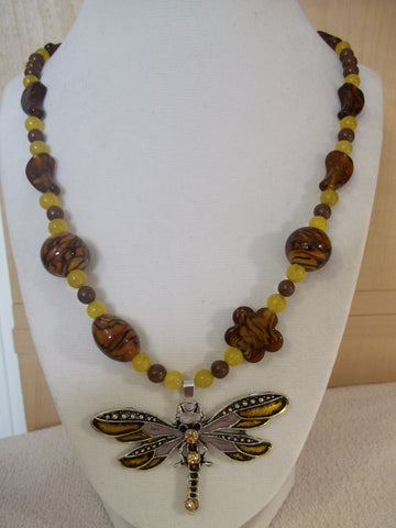 Brown Yellow Glass Bead Dragonfly Pendant Necklace (N1009)