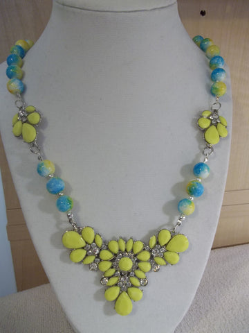 Blue Yellow Glass Beads Yellow Bling Pendant Necklace (N1010)