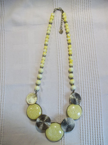 Bronze Yellow Circles Glass Beads Necklace (N1014)