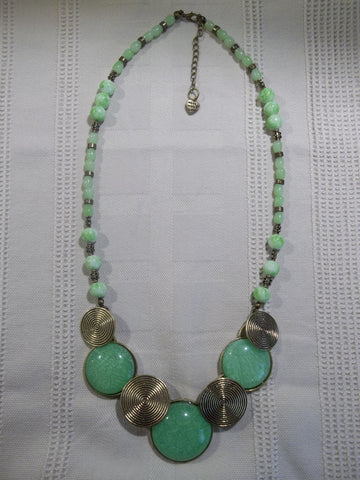 Bronze Green Circles Glass Beads Necklace (N1015)