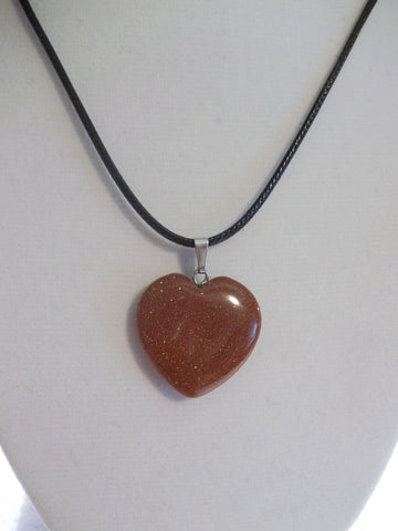 Black Leather Brown Sparkle Stone Heart Necklace (N1041)
