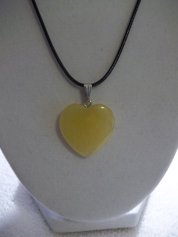 Black Leather Yellow Stone Heart Necklace (N1042)