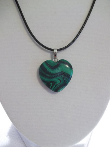 Black Leather Green Swirl Stone Heart Necklace (N1044)