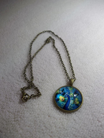 Bronze Bubble Blue Yellow Peacock Necklace (N1050)