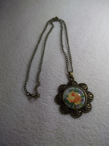 Bronze Bubble Flower Yellow Rose Necklace (N1052)