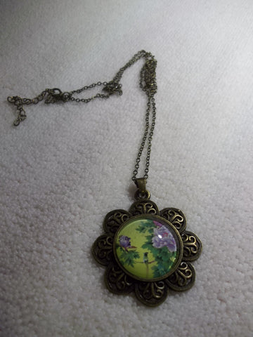 Bronze Bubble Flower Purple Flowers Bird Necklace (N1054)