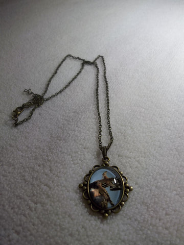 Bronze Oval Bubble Two Birds Necklace (N1060)
