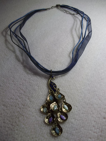 Blue Ribbon Cord Peacock Necklace (N1063)