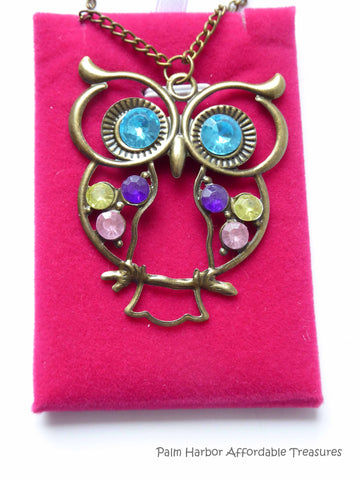 Bronze Owl with Bling Necklace (N1064)