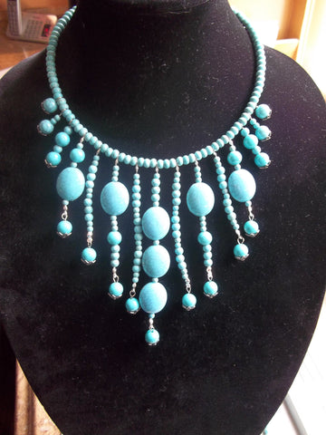 Memory Wire Blue Turquiose Beads Choker Necklace (N1066)