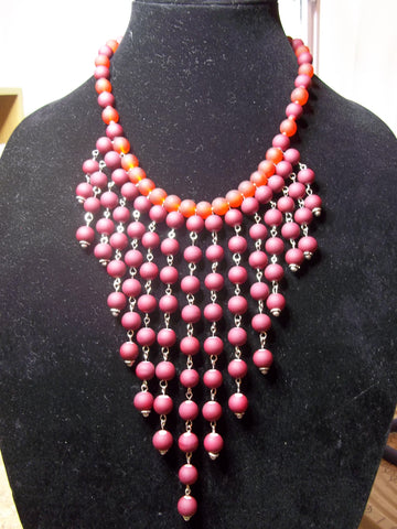Dark Burgundy Burnt Orange Glass Beads Long Bead Choker Necklace (N1067)