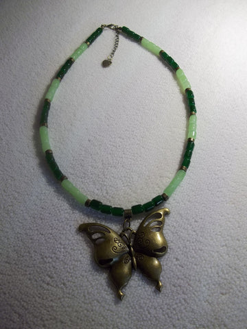 Bronze Dark Light Green Glass Beads Butterfly Pendant Necklace (N1068)