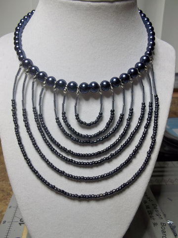 Memory Wire Dark Blue Pearl Seed Beads Choker Necklace (N1070)
