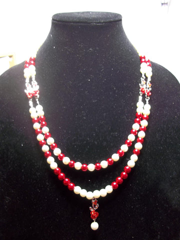 Double White Red Pearl Roses Necklace (N1073)