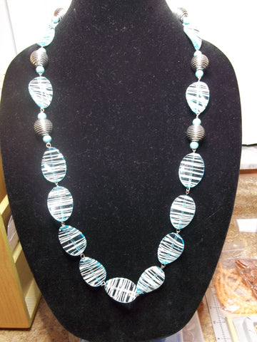 Blue Acrylic SilverGlass Beads Necklace (N1090)