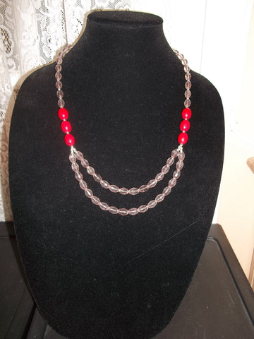 Double Red Glass Bead Pink Crystal Necklace (N1093)