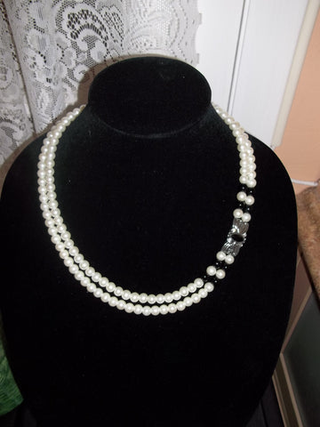 Double Pearl Black Glass Beads Bling Necklace (N1094)