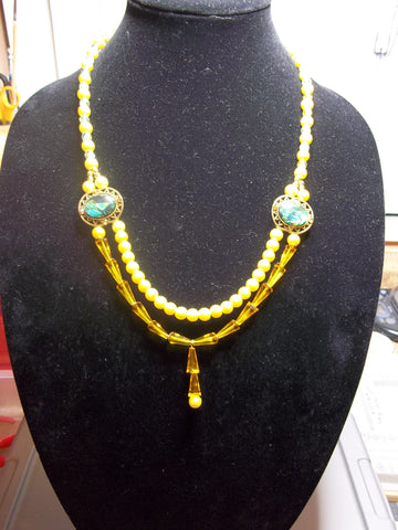Gold Pearls Yellow Cone Glass Beads Two Side Pendants Necklace (N1095)
