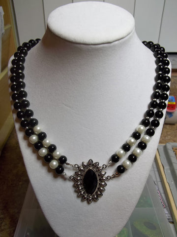 Double Black Glass Beads Pearls Silver Black Pendant Necklace (N1096)