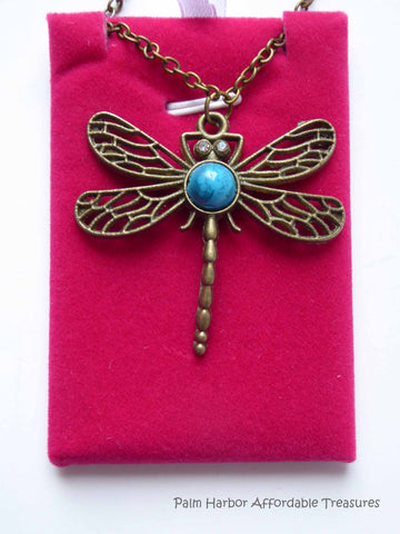 Bronze Turquoise Dragonfly Necklace (N109)