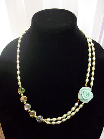 Gold Green Long Pearls Green Crystals Green Rose Pendant Necklace (N1102)