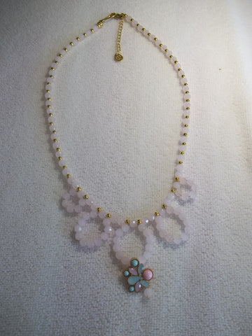 Pink Glass Beads Gold Beads Bling Pendant Necklace (N1104)