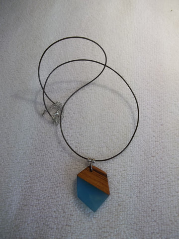 Brown Cord Blue Wood Hexagonal Pendant Necklace (N1117)