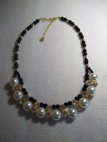 Gold Big White Pearls Black Glass Bead Necklace (N1121)