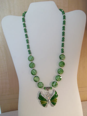 Green Glass Bead Butterfly Necklace (N1131)