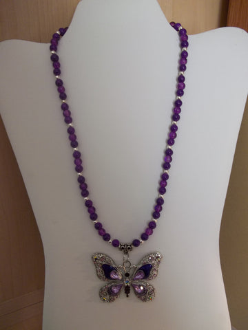 Purple Glass Bead Butterfly Pendant Necklace (N1135)