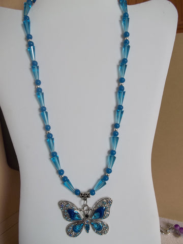 Silver Blue Cone Glass Bead Blue Butterfly Pendant Necklace (N1137)